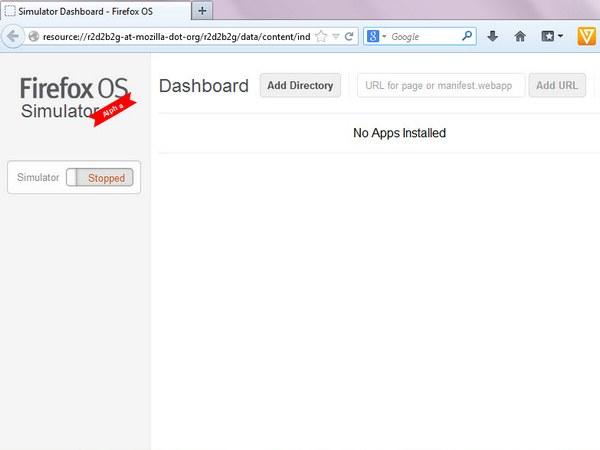 Dashboard Firefox OS Simulator yang masih kosong