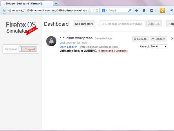 Tampilan Dashboard dengan sebuah aplikasi yang sudah ditambahkan